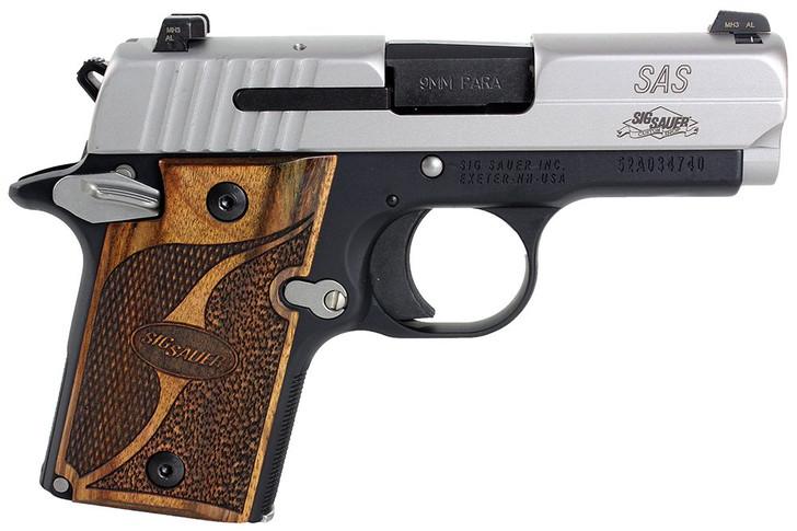 "Sig Sauer 938-9-SAS-AMBI P938 SAS 7+1 9mm 3"""