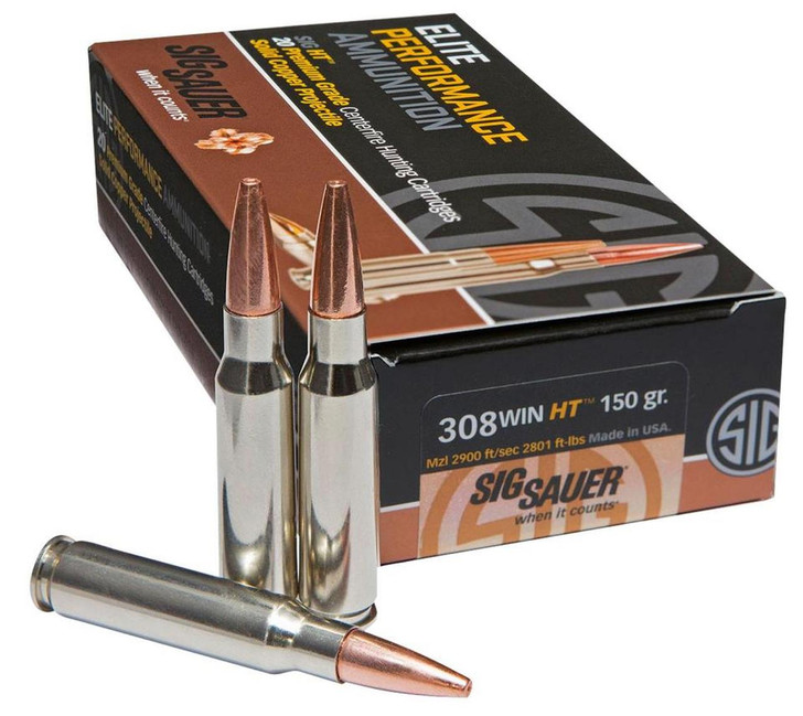 SIG Sauer HT Elite Hunting .308 Winchester | 7.62X51 NATO Ammunition 20 Rounds 150 Grain Solid Copper Open Tip Match 2900fps E308H1-20