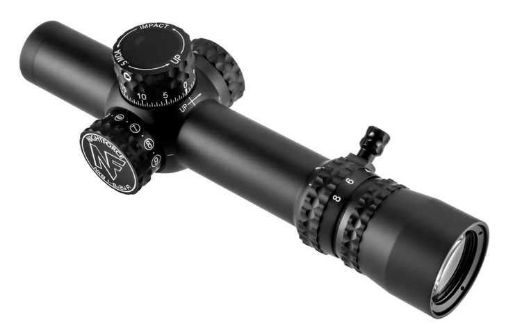 Nightforce NX8 1-8x24mm F1 - ZeroStop - .2 Mil-Radian Capped Windage PTL FC-Mil C598