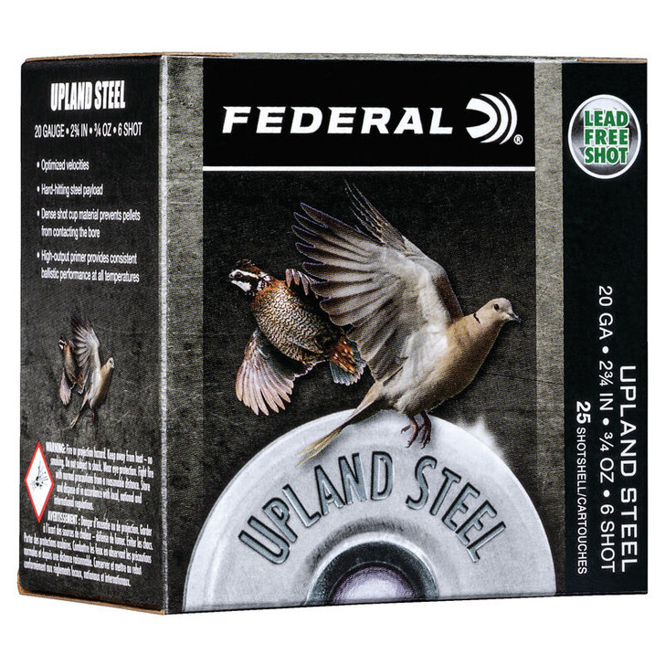 """Federal Upland Steel 20 Gauge Ammunition 2-3/4"""" #6 Steel Shot 3/4 Ounce 1500 fps USH206"""