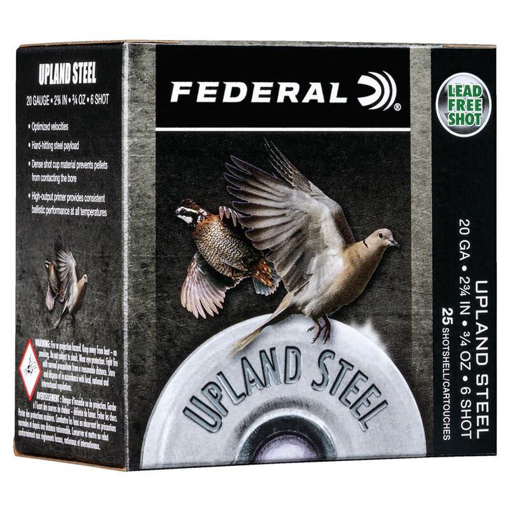"""Federal Upland Steel 20 Gauge Ammunition 25 Rounds 2-3/4"""" #7.5 3/4 Ounce Steel Shot 1500 fps USH2075"""