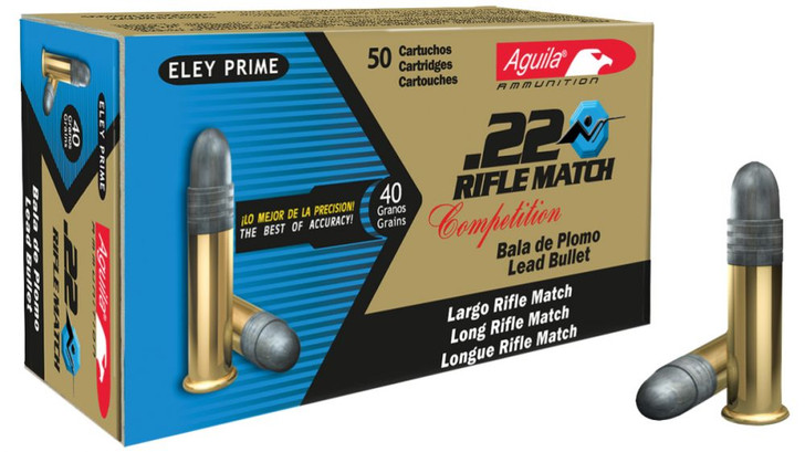Aguila .22 Long Rifle Match 40 Grain Solid Point Match Rifle Rimfire Ammunition 500 Round Brick