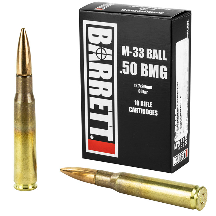 Barrett 50BMG Headstamp 661GR M33 Ball Full Metal Jacket 10 Rounds 14670
