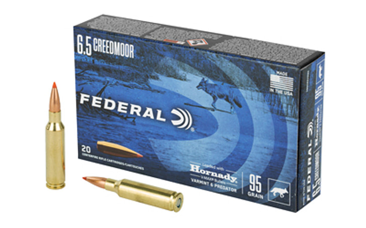 Federal Varmint and Predator V-Max 6.5 Creedmoor 95 Grain 20 Round Box V65CRDVM95