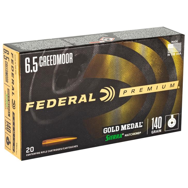 Federal 6.5 Creedmoor Ammunition 20 Rounds Gold Medal MK-BTHP 140 Grains GM65CRD1