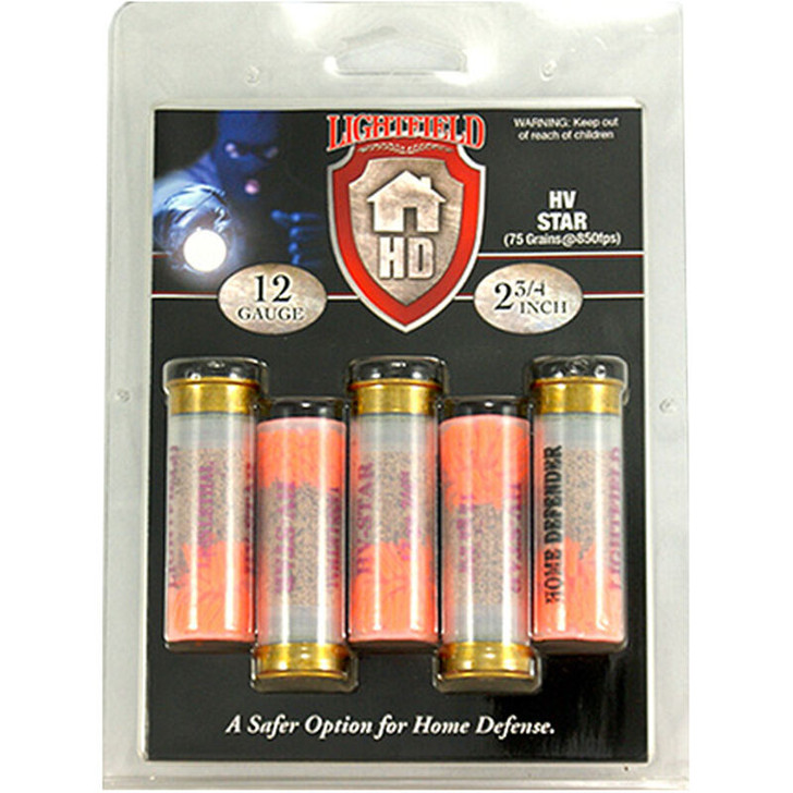 """Lightfield Home Defender 12 Gauge Ammunition 5 Rounds 2-3/4"""" HV Star 850fps LHDST12"""