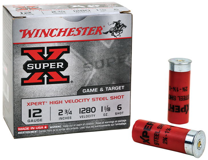 "Winchester Ammo Super X Xpert High Velocity 12 Gauge 2.75"" 1 oz 6 Shot 25 Bx California Certified Nonlead Ammunition WE12GT6"