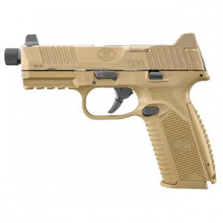 """FNH 509 TACTICAL 9MM FDE 1/2"""" x 28 Threaded Barrel One 17-round and two 24-round magazines 66-100373"""