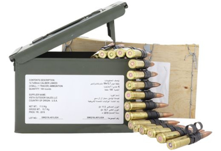 FEDERAL AMMO .50 BMG M33 BALL M17 TRACER 4:1 LINKED 100RDS ZSAMA557MOI XM33M17