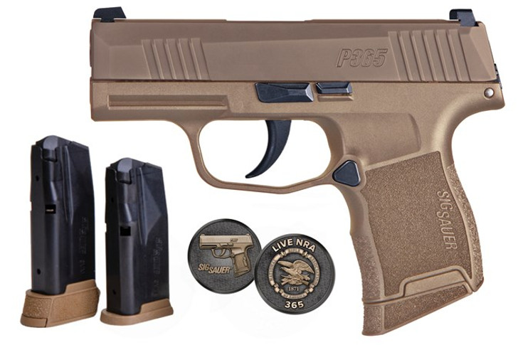 """Sig P365 NRA Edition, 9mm, 3"""" Barrel, Xray3 Night Sights, Coyote Tan Finish, NRA Coin, 3 Mags 365-9-COYXR3-NRA19"""