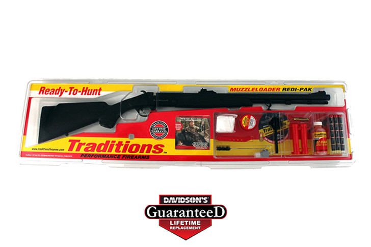 "Traditions Buckstalker Redi-Pak Muzzleloading Rifle 50 Caliber 24"" Blued Barrel Synthetic Stock Black RS72003540"