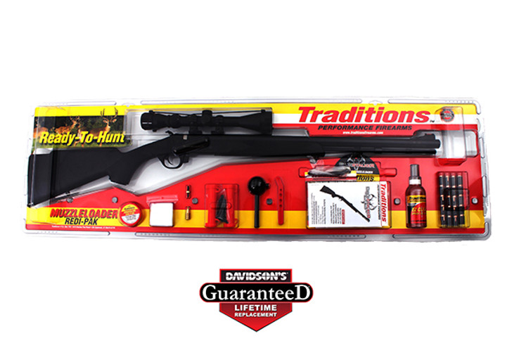 """Traditions BuckStalker Muzzleloading Rifle with 3-9x 40mm Duplex Scope and Redi-Pak 50 Caliber 24"""" Blued Barrel Synthetic Stock Black RS5-72003540"""