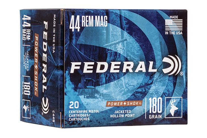 Federal Power-Shok Handgun Ammunition .44 Mag 180 gr JHP 1460 fps 20/box C44B