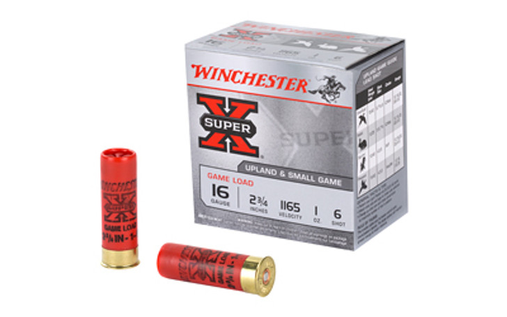 "Winchester Ammunition Super-X 16 Gauge 2.75"" Game Load #6 1 oz. Shotshell 25 Round Box XU166"