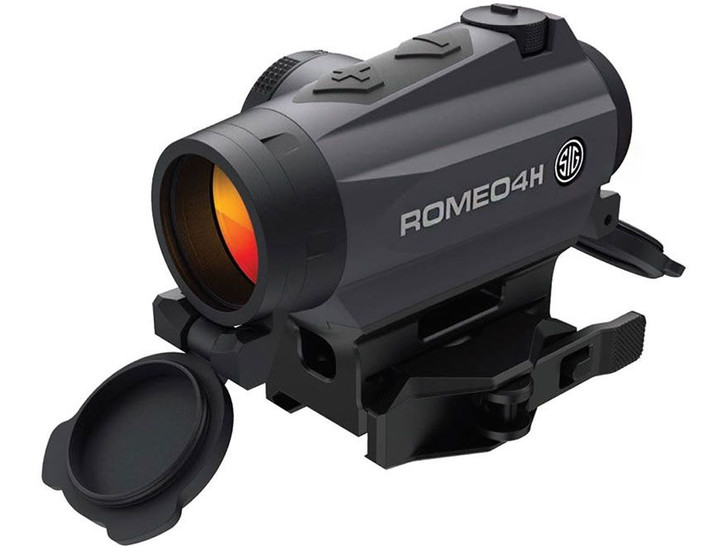 IG Sauer Romeo4H Red Dot Optic 1 MOA Red Dot Ballistic CirclePlex Reticle AR Mount .50 MOA Adjustment Unlimited Eye Relief CR2032 Battery Graphite/Black SOR43012