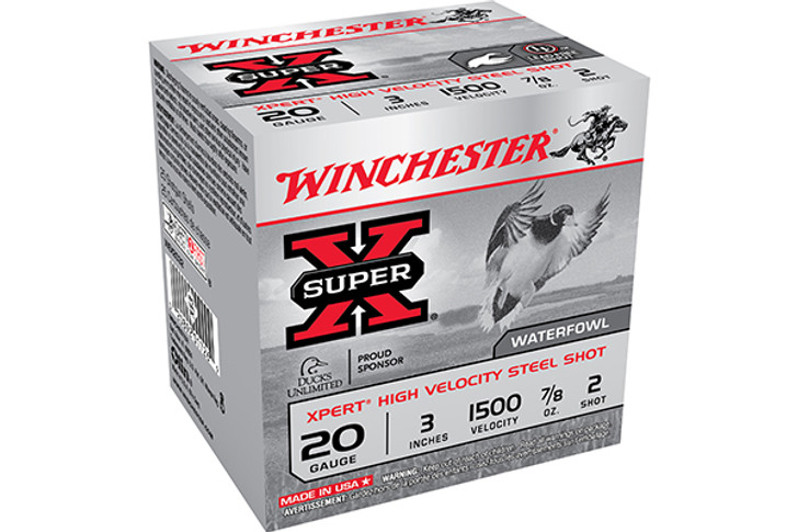 "Winchester 20 Gauge Ammunition Expert Hi-Velocity Waterfowl 3"" 2 Shot 7/8oz 1500fps WEX2032"