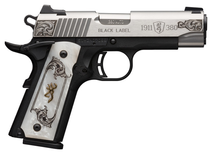 """Browning BG 1911-380 MED S/S ENGRAVED .380 ACP FS 4.25"""" WHITE PEARL 051966492"""
