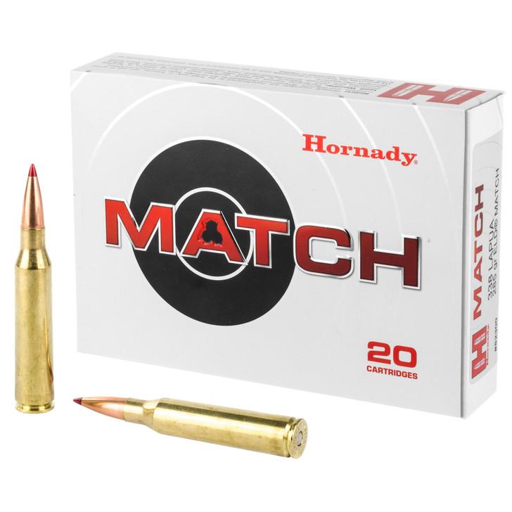Hornady Match .338 Lapua Magnum Ammunition 20 Rounds 285 Grain ELD Match Polymer Tip Projectile 2745fps 82300