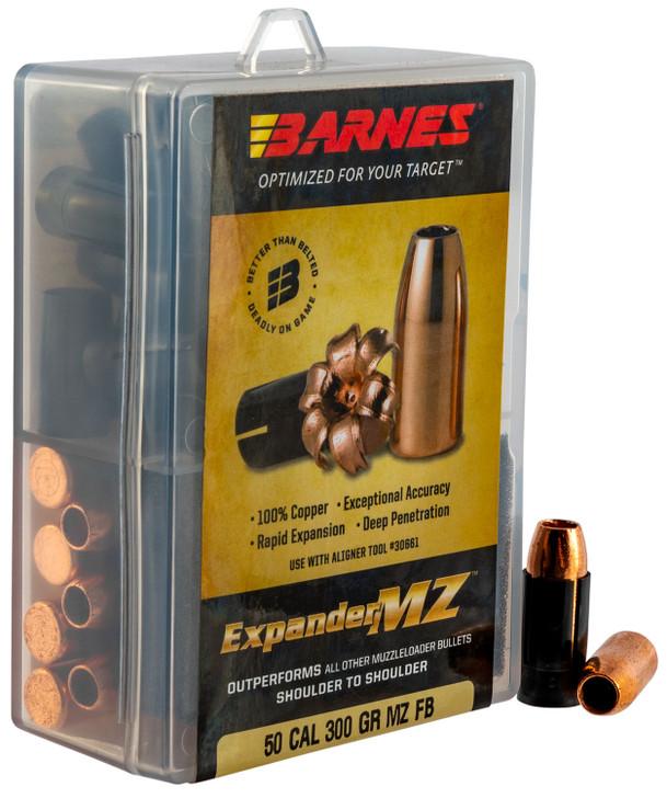 "Barnes .50 Caliber .451"" Diameter 300 Grain Expander MZ Hollow Point Flat Base Muzzleloading Bullet 24 Count 30583"