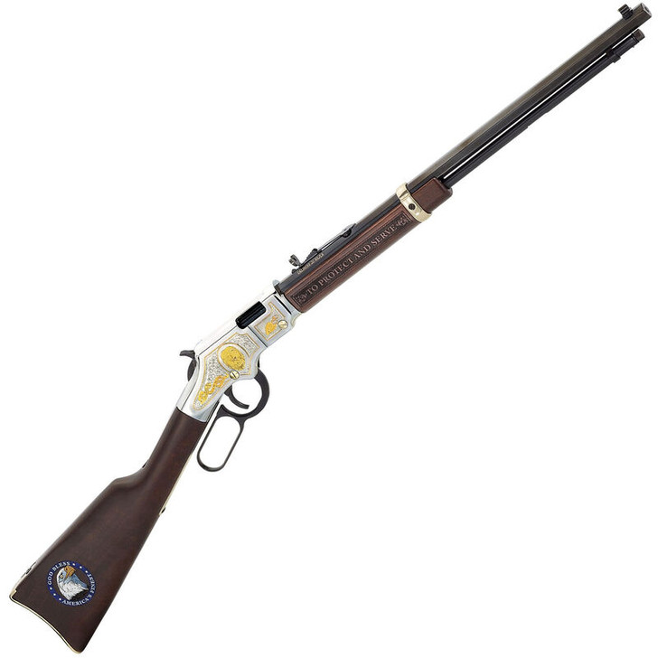"""Henry Golden Boy Law Enforcement Tribute Lever Action Rifle .22 Caliber 20"""" Barrel 16 Rounds Walnut Stocks Brass and Blue Finish H004LE"""