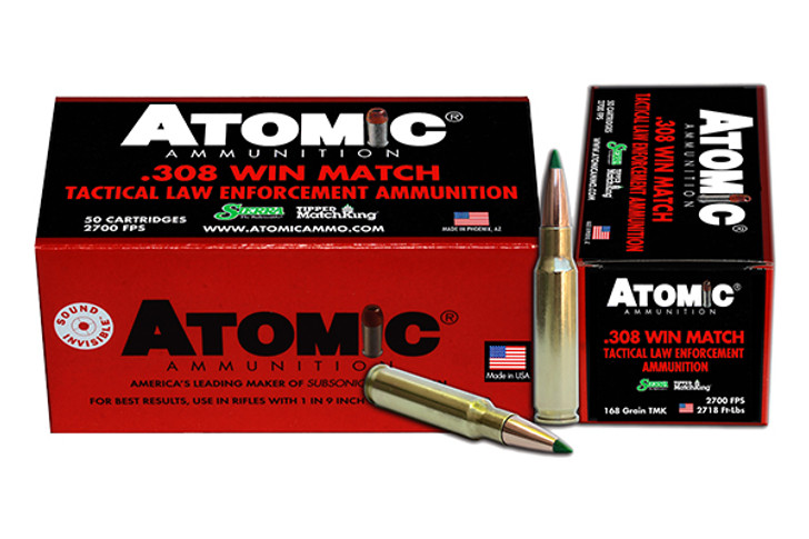 Atomic Tactical LE Ammunition 308 Winchester 168 Grain Sierra Tipped MatchKing (TMK) Box of 50 00473