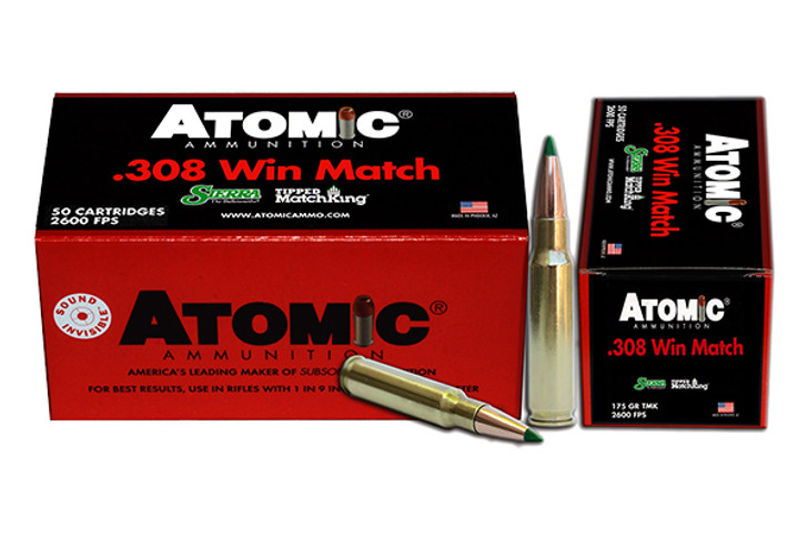 Atomic Tactical Law Enforcement Ammunition 308 Winchester 175 Grain Sierra Tipped MatchKing (TMK) Box of 50 00464