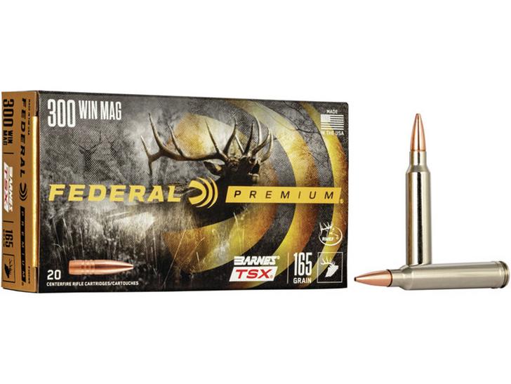 Federal Premium Ammunition 300 Winchester Magnum 165 Grain Barnes TSX 20/Box P300WR