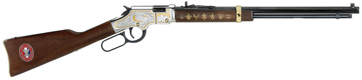 "Henry Repeating Arms Golden Boy Eagle Scout Tribute Edition Model H004E2 Lever Action Rimfire Rifle .22 Long Rifle 20"" Octagon Barrel 16 Rounds American Walnut Stock Golden Finish with Engravings H004ES"