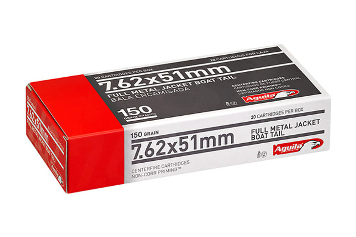 Aguila Ammunition 7.62 NATO Ammo 150 Grain Full Metal Jacket Boat Tail 20 Round Box 1E762110