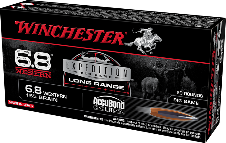 Winchester Expedition Big-Game 6.8 Western Ammo 165 Grain AccuBond Long Range S68WLR