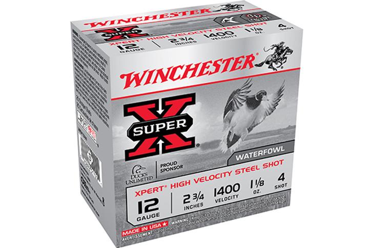 "Winchester Super X Expert 12 Gauge Shotshell 25 Rounds 2 3/4"" #4 Steel 1 1/8 Ounce WEX12H4"