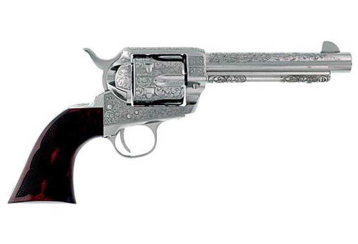 "Cimarron Buffalo Bill Signature Series Frontier .45LC Single Action Revolver 5.5"" Barrel 6 Rounds Diamond Checkered Walnut Grips Laser Engraved Nickel Finish PP411LNBB"