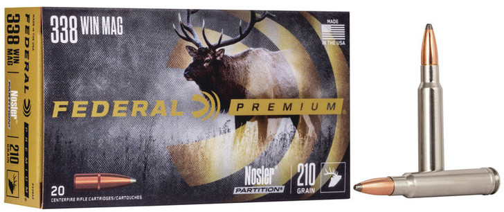 Federal Premium 338 WIN MAG 210GR Nosler Partition P338A2