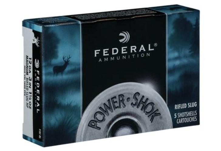 """Federal Power-Shok Ammunition 12 Gauge 3"""" 1-1/4 oz Hollow Point Rifled Slug Box of 5 F131 RS"""