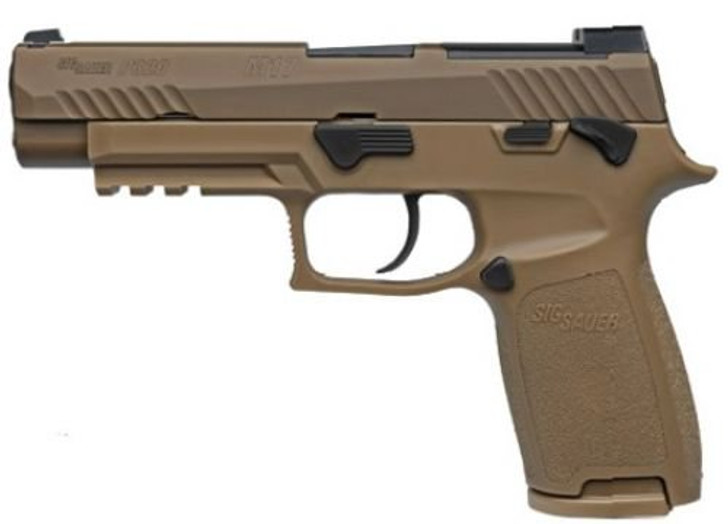 "SIG Sauer P320 Pistol 9mm 4.7"" Barrel M17 Manual Safety Coyote With Night Sight Plate MA Compliant 320F-9-M17-MS-MA"