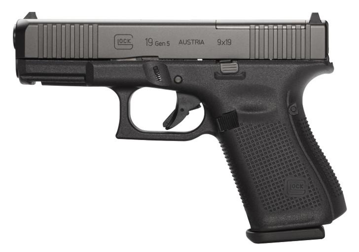 "Glock G19 Gen 5 MOS FS 9mm Luger 4.02"" 15+1 Black nDLC Front Serrations Slide Black Interchangeable Backstrap Grip PA195S203MOS"