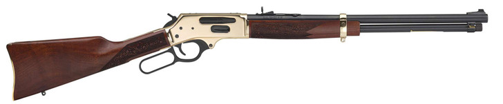 """Henry Repeating Arms Side Gate .38-55 Win Lever Action Rifle 20"""" Barrel 5 Rounds Tube Magazine Adjustable Rear Sight Walnut Stock Brass/Blued Finish H024-3855"""