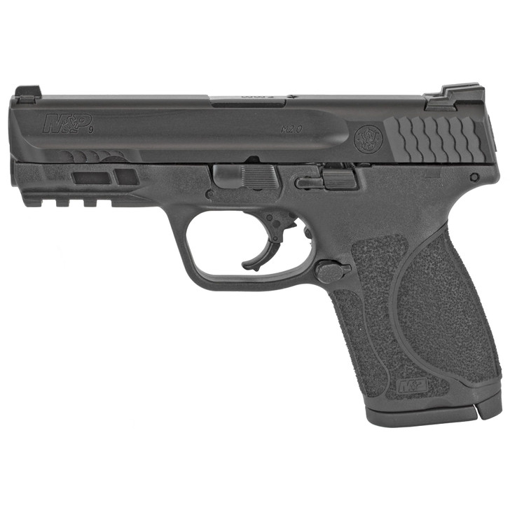 """Smith & Wesson M&P M2.0 Compact 9mm Luger 4"""" 10+1 Black Black Armornite Stainless Steel Slide Black Interchangeable Backstraps 12464"""
