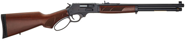 """Henry Steel Side Gate .45-70 Government Lever Action Rifle 18.43"""" Barrel 4 Rounds Bead Front Semi-Buckhorn Rear Sight American Walnut Stock Blued Finish H010G"""
