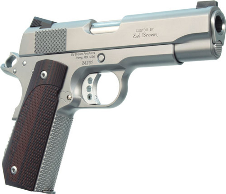 """Ed Brown Kobra Carry 1911 Semi Auto Pistol .45 ACP 4.25"""" Barrel 7 Rounds Fiber Optic Front Sight Fixed Rear Sight Stainless Steel Frame/Slide Matte Stainless Finish KC18SS"""