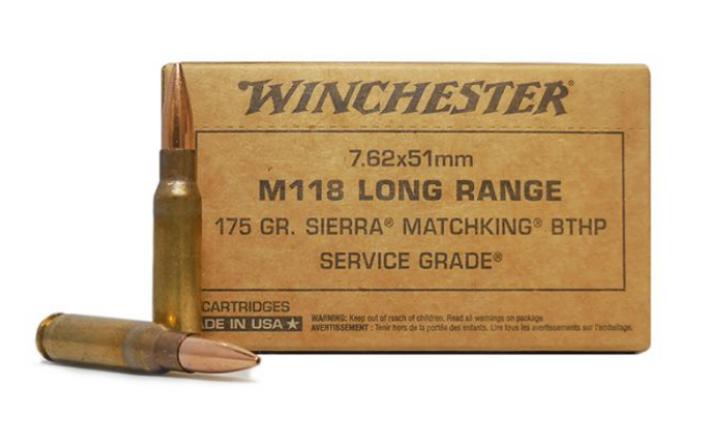 Winchester Service Grade 7.62x51 175 Grain M118 Long Range Sierra MatchKing HPBT SGM118LRW