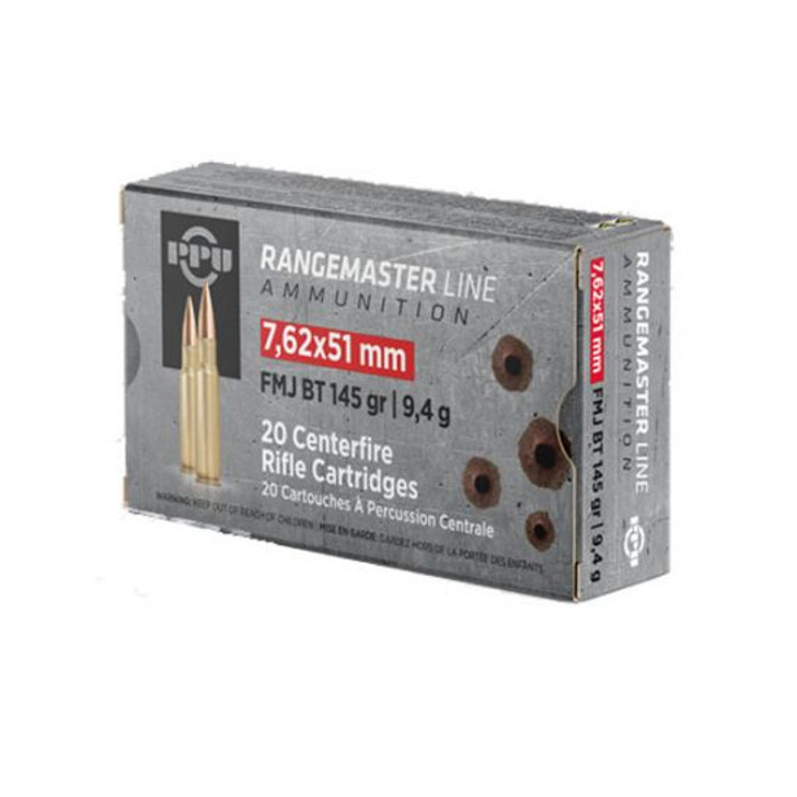 Prvi Partizan RangeMaster 7.62x51MM NATO 145GR FMJBT 20 Rounds PPRM762
