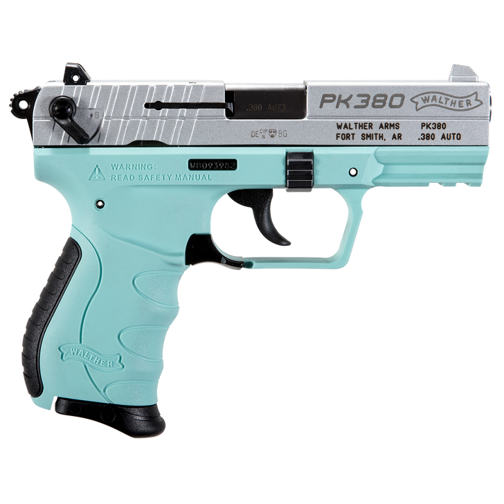 """Walther PK380 .380 ACP Nickle/Angle Blue 3.66"""" 8+1 Rounds 5050325"""