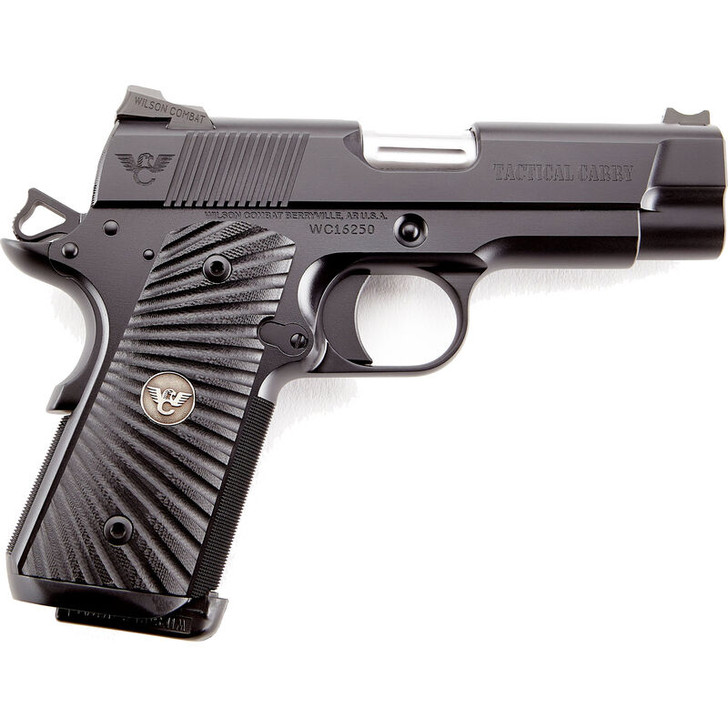 """Wilson Combat Tactical Carry Compact .45 ACP 1911 Semi-Auto Handgun 4"""" Barrel 7 Rounds Magwell Custom Features Steel Frame/Slide Black Finish TC-CP-45A"""