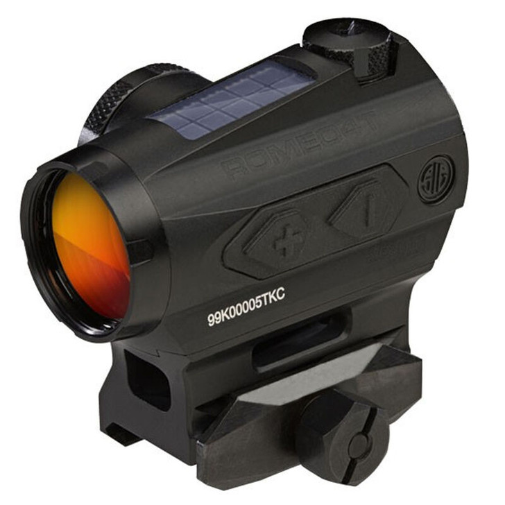 Sig Sauer Romeo4T Red Dot Optic 1x 1 MOA Circle Plex Reticle Picatinny Hex Bolt Mount MOA Adjustment Unlimited Eye Relief Solar/CR2032 Battery Powered Aluminum Housing Matte Black SOR43032