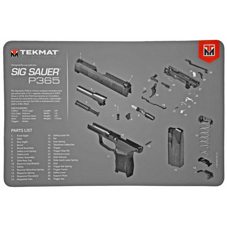 "TekMat Sig P365 Pistol Mat 11""x17"" Black Includes Microfiber TekTowel Packed in Tube R17-SIGP365"
