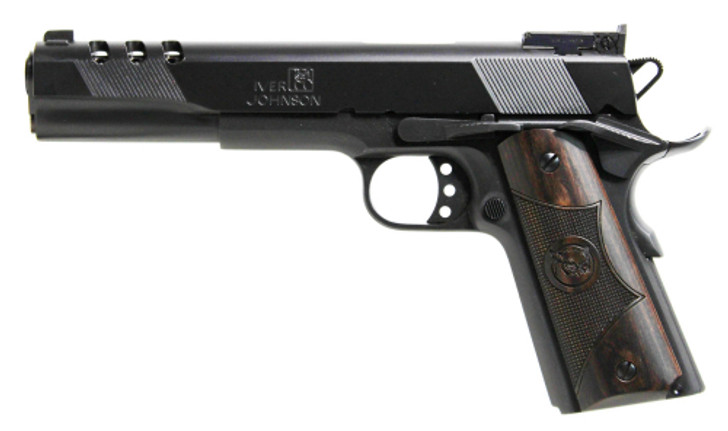 "Iver Johnson Eagle XL Ported 1911A1 Full Size Semi Auto Handgun .45 ACP 6"" Barrel 8 Rounds Ported Barrel and Slide Walnut Grips Blued Finish GIJ26"