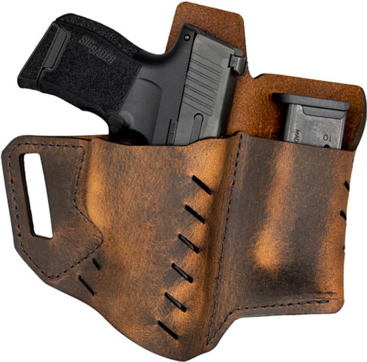 VersaCarry Commander OWB Holster With Mag Carrier for Sig P365 Right Hand Leather Brown 6220365