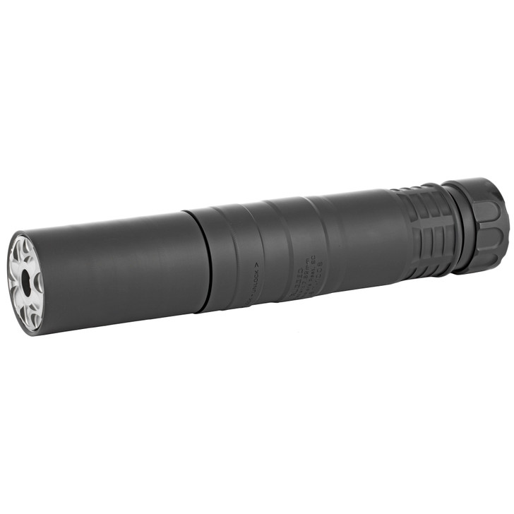 """Rugged Suppressors Radiant762 Suppressor 7.62mm rated to 300 Remington Ultra Magnum Modular Full Auto Rated Titanium and Stellite Black Weighs 9.4oz in 5.1"""" Configuration/12.5oz in 7.5"""" Configuration Black Finish CCBT-4709"""