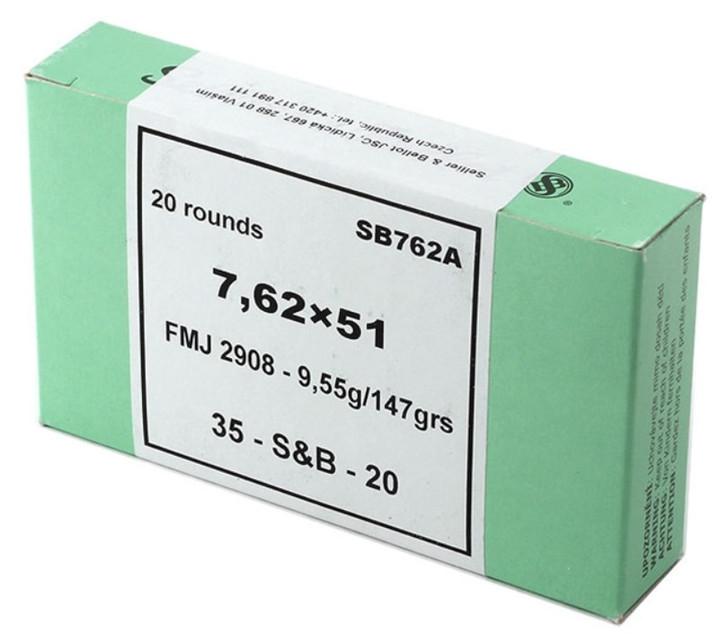 Seller & Bellot 7.62x51 NATO .308 Winchester 147 Grain Full Metal Jacket 20 Round Box SB762A